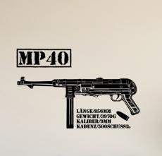 Deutsche MP40 Maschinenpistole - Aufkleber/Wandtattoo 90,6 x 58,0cm