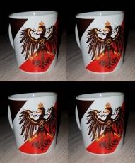 Preußen Adler Schwarz, Weiss, Rot - Preußens Gloria! - 4 Tassen(Rundumdruck)
