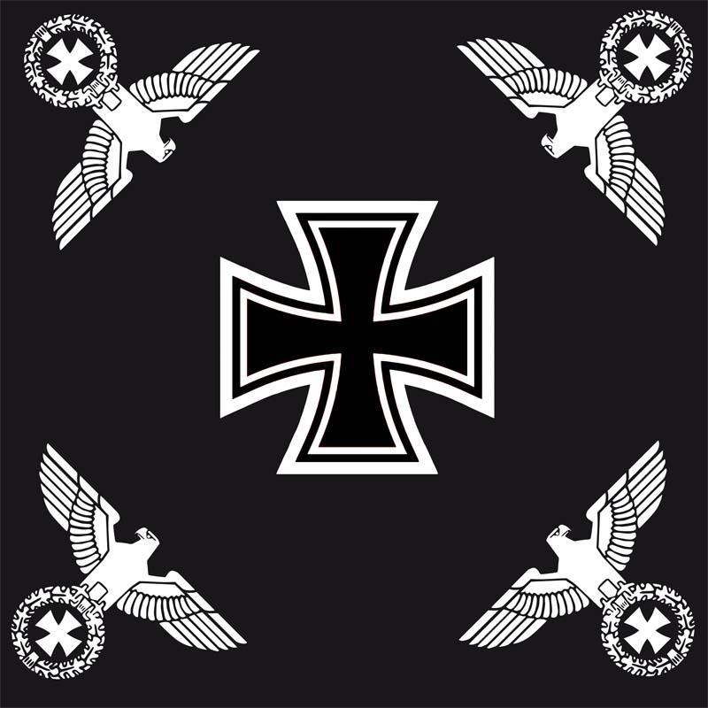 Eisernes Kreuz mit 4 Reichsadlern schwarz - Fahne 120x120 cm