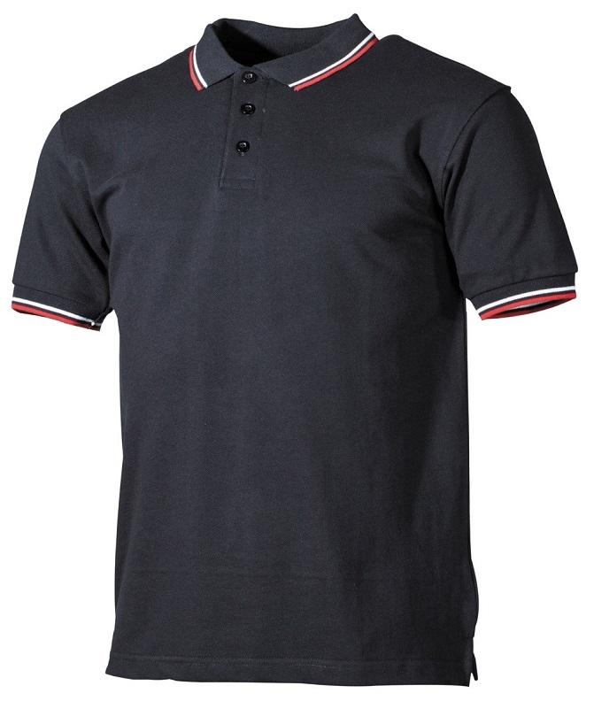 Herren Poloshirt Schwarz, Weiss, Rot mit Knopfleiste