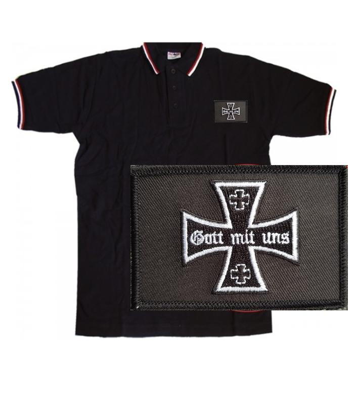 Eisernes Kreuz im Lorbeerkranz - Poloshirt schwarz-weiß-rot