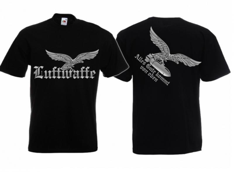 Luftwaffen-Adler - Gruß von oben - T-Shirt schwarz
