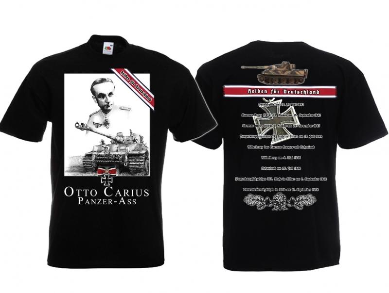 Panzer-As Otto Carius - T-Shirt schwarz