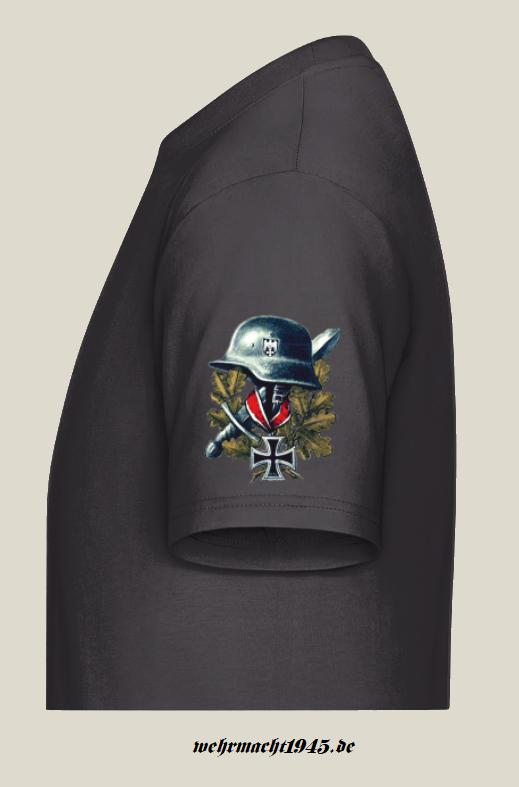 Wehrmacht Helm, Ritterkreuz - T-Shirt Ärmeldruck