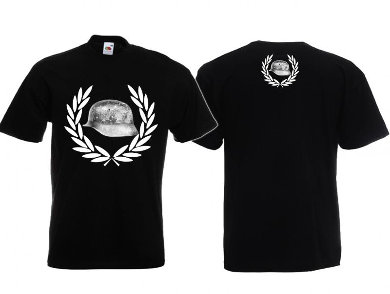 Stahlhelm im Siegerkranz - T-Shirt schwarz
