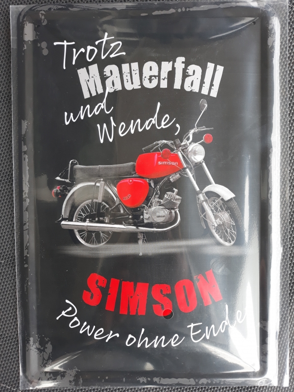 Simson - Power ohne Ende - Blechschild