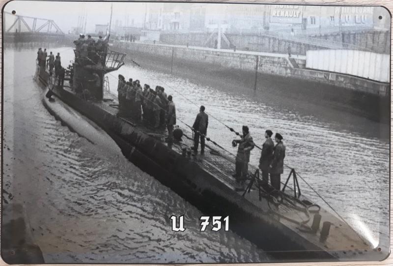 Deutsches U-Boot U-751 Typ VIIC - Blechschild