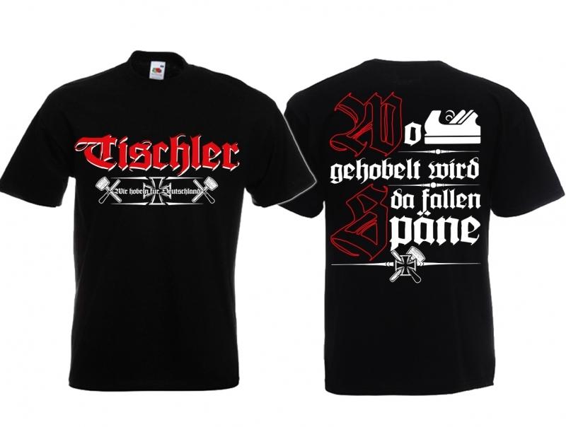 Tischler - Wo gehobelt wird, da fallen Späne ! T-Shirt schwarz