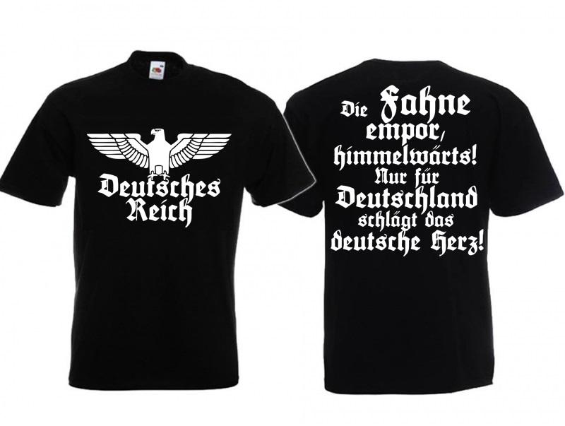 Deutsches Reich - Die Fahne empor - T-Shirt schwarz
