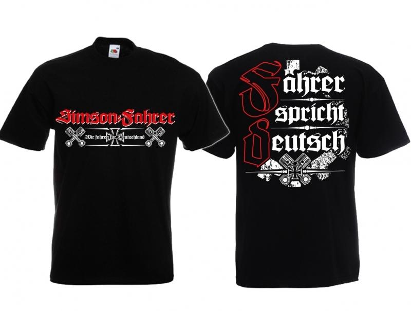 Simson Fahrer - Fahrer spricht deutsch! - T-Shirt schwarz
