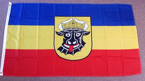 Fahne / Flagge Mecklenburg mit Ochsenkopf(alte Version) 90 x 150 cm