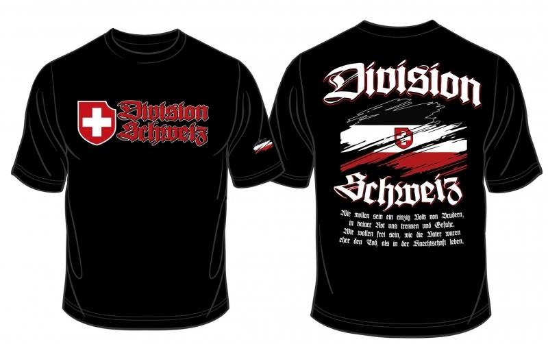 Schweiz Division - T-Shirt schwarz