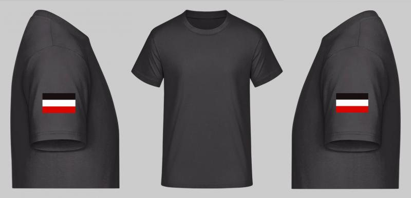 Schwarz/Weiss/Rot Ärmel - T-Shirt