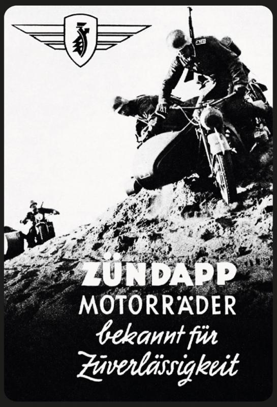 Zündapp Motorräder Wehrmacht Krad - Blechschild
