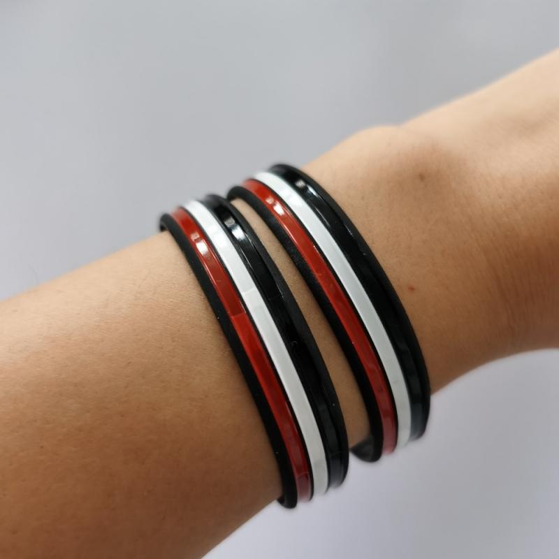 Schwarz/Weiß/Rot - Armband