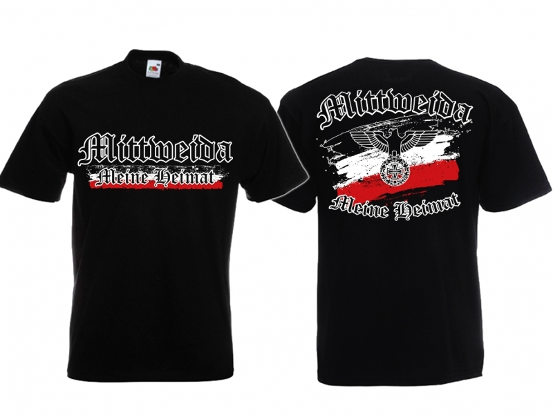 Mittweida - Meine Heimat Reichsadler - T-Shirt schwarz