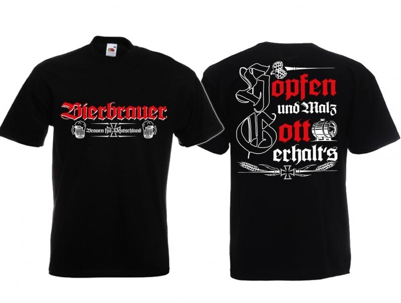 Bierbrauer - Hopfen und Malz, Gott erhalts - T-Shirt schwarz