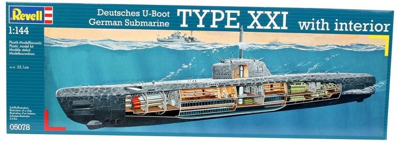 Deutsches U-Boot Typ XXI mit Interieur im Maßstab 1:144 Modellbausatz