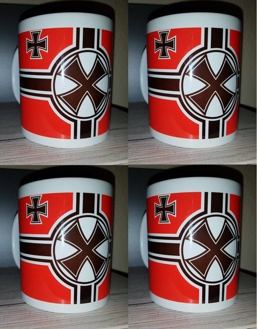 Reichskriegsflagge 1938-1945 - 4 Tassen(Rundumdruck)