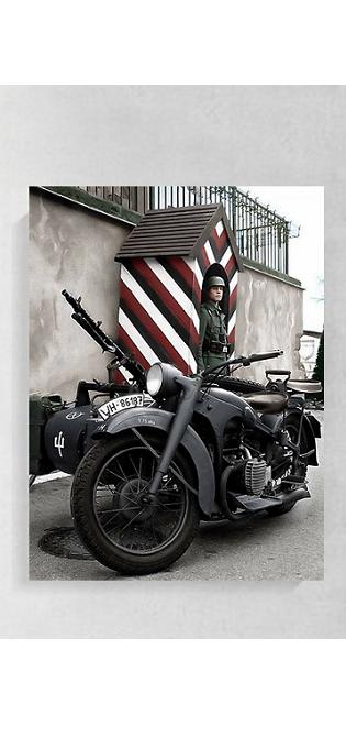 Wehrmacht Motorrad - Kunstdruck - Poster 60x45cm