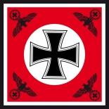 Eisernes Kreuz mit 4 Reichsadler rot - Fahne 120x120 cm