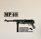 Deutsche MP40 Maschinenpistole - Wandtattoo 90,6 x 58,0cm
