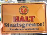 Halt Staatsgrenze ! Passieren verboten ! - Blechschild