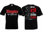 Angler - Petri Heil und fette Beute! - T-Shirt schwarz
