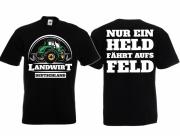 Landwirt - Nur ein Held fährt aufs Feld - T-Shirt schwarz
