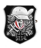 Wehrmacht Stahlhelm, Schwert, Ritterkreuz - Anstecker