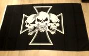 Eisernes Kreuz Totenköpfe - Fahne/Flagge 90x150 cm