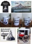 Schlachtschiff Bismarck 5er SET - 1x T-Shirt, 1x Fahne, 2x Tasse, 1x Mauspad